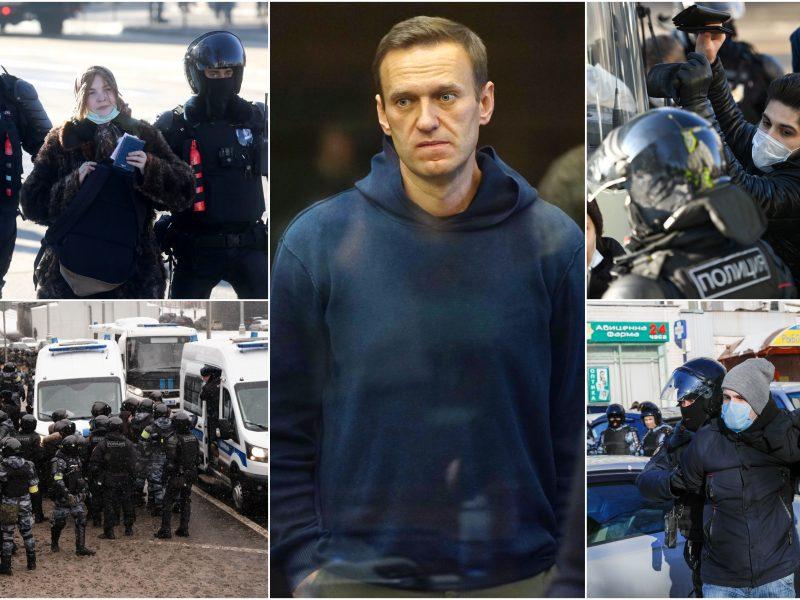 Teismas dar sprendžia dėl bausmės A. Navalnui: budi saugumo pajėgos, sulaikyta virš 200 žmonių