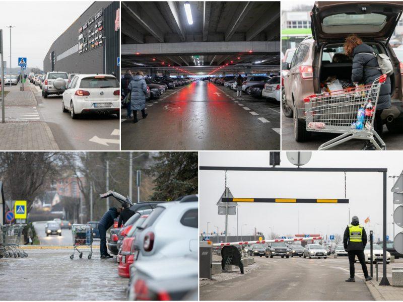 Automobilių spūstys atslūgo tik didžiųjų prekyviečių aikštelėse