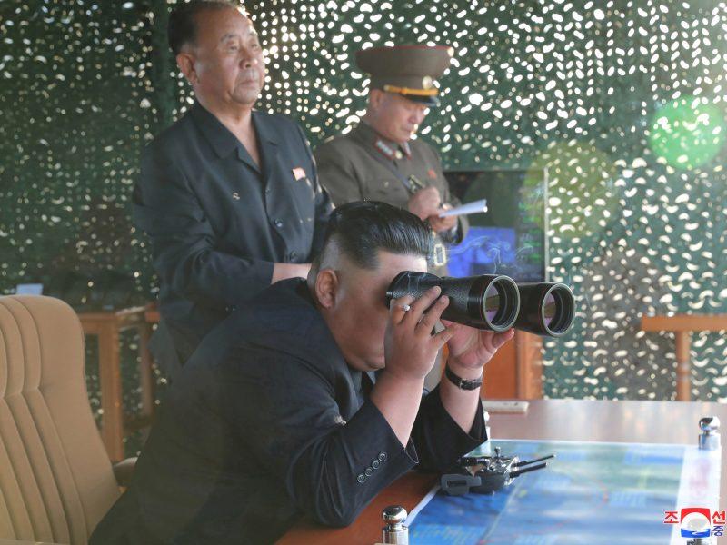 K. Jong Unas stebėjo kelių raketų leidimo sistemos bandymą