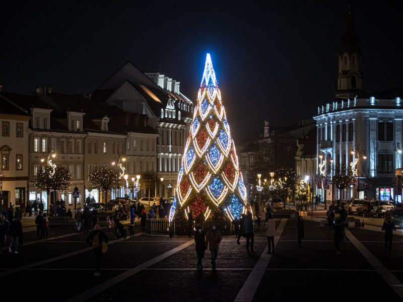 Sostinės Rotušės aikštėje įžiebta Kalėdų eglė