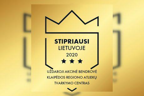 """KRATC suteiktas sertifikatas  """"Stipriausi Lietuvoje 2020"""""""