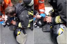 Nekasdienė užduotis: ugniagesiai išgelbėjo sąmonę praradusį kačiuką <span style=color:red;>(vaizdo įrašas)</span>