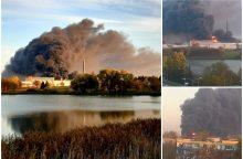 Didžiulis gaisras Alytuje: naktį užsiliepsnojusi gamykla dega iki šiol <span style=color:red;>(papildyta)</span>