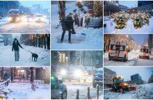 Kauną surakino sniego gniaužtai: eismo sąlygos nepavydėtinos visame mieste <span style=color:red;>(papildyta)</span>